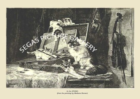 Fine art print of the In the STUDIO (from the painting by Madame Ronner) by Frances Simpson (1903)